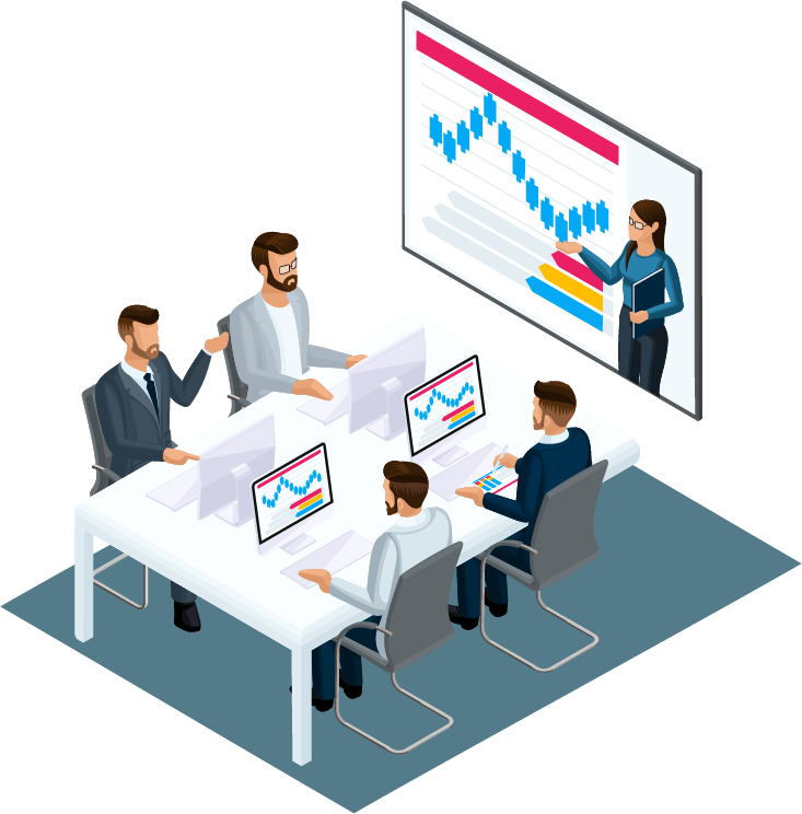 illustration of business meeting using av technology